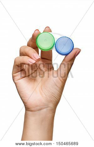 Closeup picture of container for contact lenses isolated on white background in studio. Lady holding case for contact lenses.