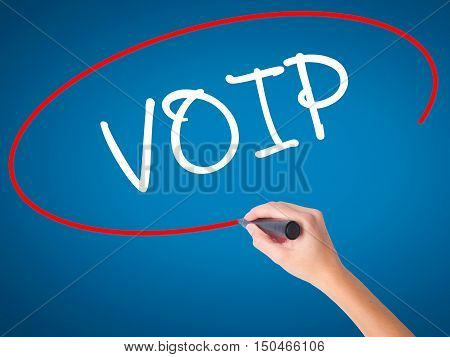 Women Hand Writing Voip With Black Marker On Visual Screen