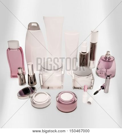 Cosmetics is located on a luminous panel. 3D illustration