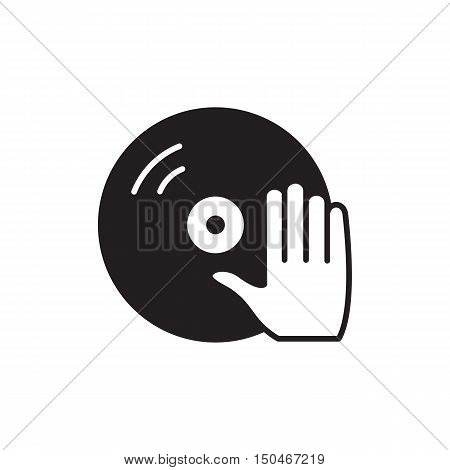 Disc with dj hand vector icon isolated on background. Hand drawn Disc with dj hand icon. Disc with dj hand  icon for infographic, website or app.