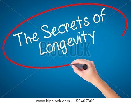Women Hand Writing The Secrets Of Longevity With Black Marker On Visual Screen
