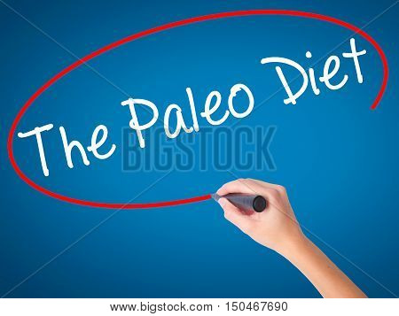 Women Hand Writing The Paleo Diet With Black Marker On Visual Screen