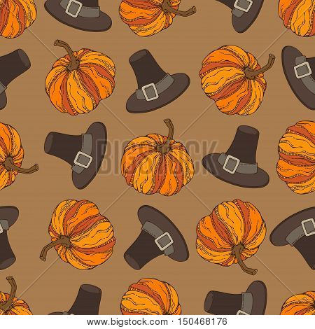 Vector Seamless Thanksgiving Pattern.