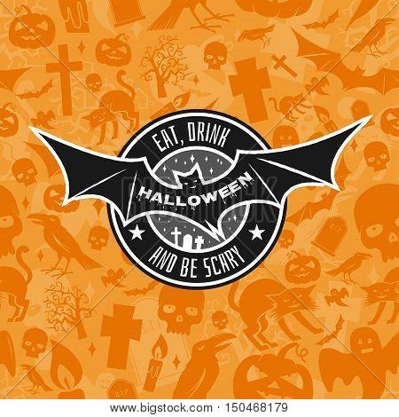 Halloween Vintage Badge, Emblem Or Label.