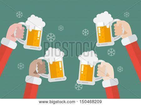 Santa clinking beer glasses. Christmas party celebration