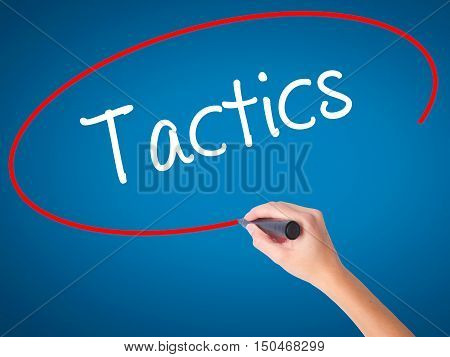 Women Hand Writing Tactics With Black Marker On Visual Screen.