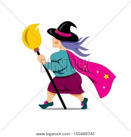 Wizard with broom. Isolated on a white Background