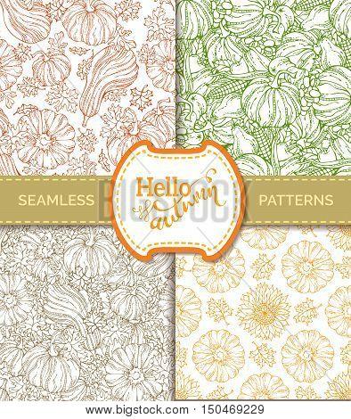 Vector Set Of Seamless Pumpkin Patterns.