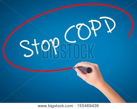 Women Hand Writing Stop Copd With Black Marker On Visual Screen