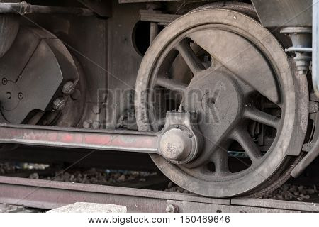 Closeup view of the drive unit from an old steam locomotive