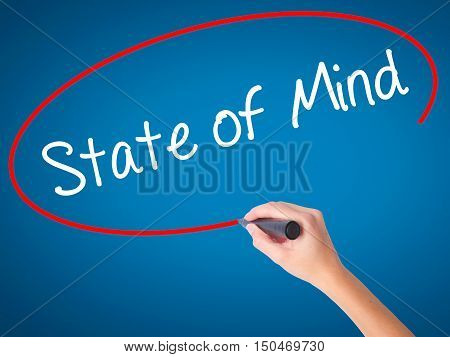 Women Hand Writing State Of Mind  With Black Marker On Visual Screen