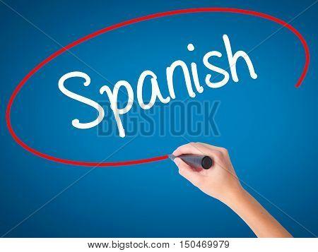 Women Hand Writing Spanish With Black Marker On Visual Screen