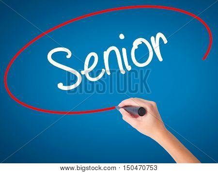 Women Hand Writing Senior With Black Marker On Visual Screen