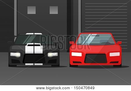 Cars front view in dark street vector illustration, sport expensive auto parked near garage or station, flat cartoon tuned automobiles