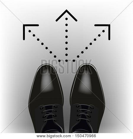 Select a destination. Men's dress shoes. Vector
