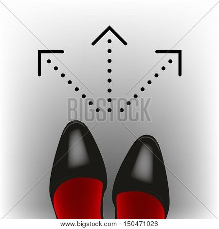Select a destination. Women's dress shoes. Vector