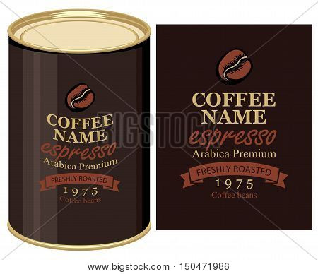 Vector illustration of a tin can with label of coffe beans
