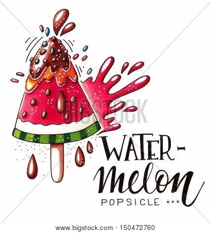 Hand drawn marker illustration of a watermelon popsicle with chocolate speckles juicy splash drops and lettering isolated on white background. This image can be used as a print on t-shirts and bags greeting card or as a poster.