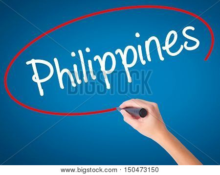 Women Hand Writing Philippines With Black Marker On Visual Screen
