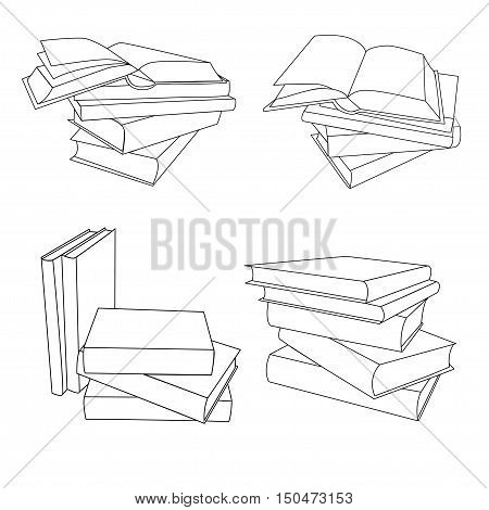 Set stacks of book. Opened and closed books stacked books and single book isolated on white background. Monoline vector icons