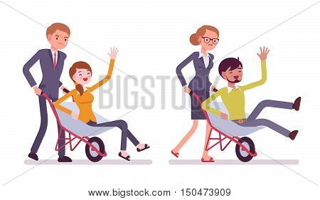 Set of business people pushing men in the wheelbarrow. Cartoon vector flat-style illustration