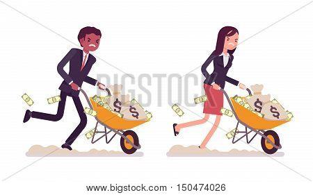 Set of business people pushing wheelbarrow full of money. Cartoon vector flat-style illustration