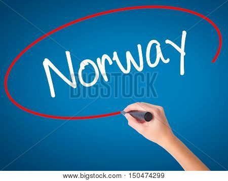 Women Hand Writing Norway  With Black Marker On Visual Screen