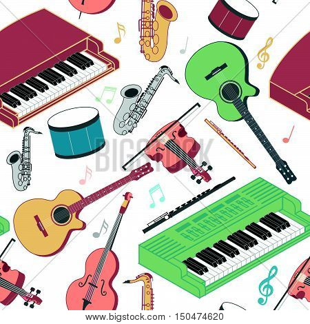 Musical instruments seamless pattern. Piano guitar violin flute electric keyboard saxophone cello musical notes in trendy flat line art style. Beautiful design for web background fabric paper.