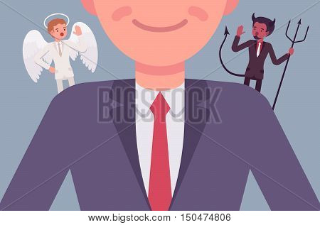 Angel and devil on the man shoulders, suggesting. Cartoon vector flat-style concept illustration