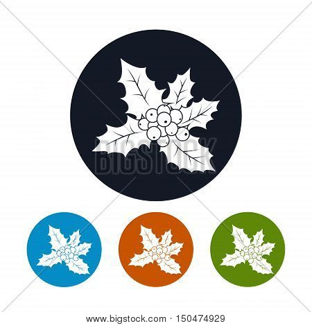 Icon of a Christmas Holly Berry, Four Types of Colorful Round Icons Christmas Holly, Christmas Decorations , Vector Illustration