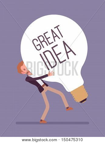 Man heavily dragging a giant light bulb, with a title Great Idea. Cartoon vector flat-style concept illustration