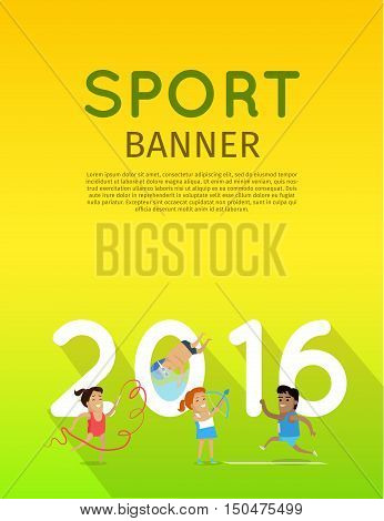 Sport banner. Artistic gymnastics athletics diving and archery template. Summer games colorful banner. Competitions, achievements, best results. Flyer, template, poster 2016. Vector illustration