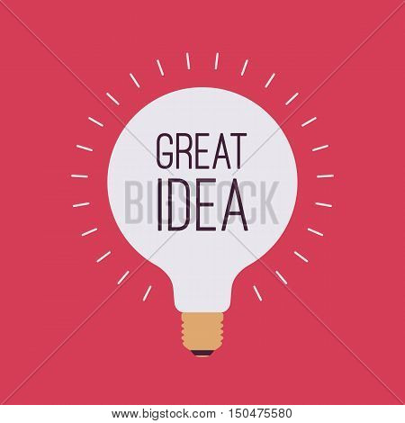Bright light bulb with a title Great Idea, crimson background. Cartoon vector flat-style illustration