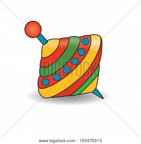 Humming-top, cartoon whirligig. Baby toys. Vector illustration.