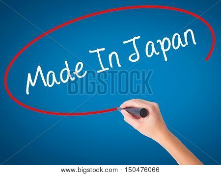 Women Hand Writing Made In Japan With Black Marker On Visual Screen