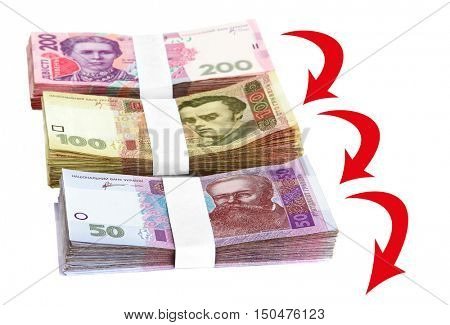 Ukrainian money on white background. Currency exchange rate concept.