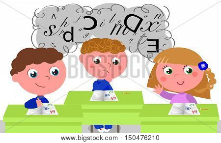 Three children in a classroom being taught about learning difficulties like dyslexia.