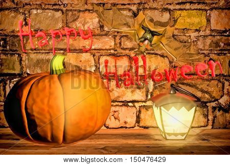 Happy Halloween! Pumpkin, bat, and lamp burning  against the background of a brick wall. 3D illustration