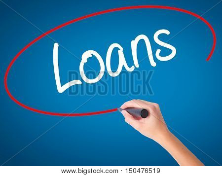 Women Hand Writing Loans  With Black Marker On Visual Screen
