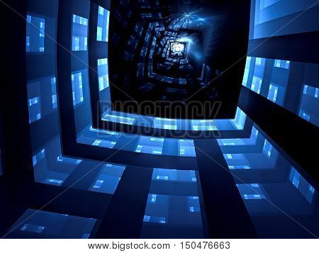 Abstract fractal background - computer-generated image. Digital art: walls of mystic well, corridor or tunnel and bright light at the end. Technology or esoteric concept.