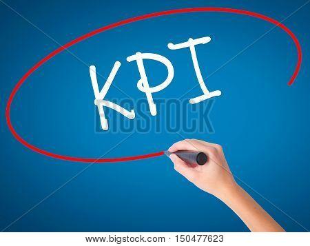 Women Hand Writing Kpi (key Performance Indicator) With Black Marker On Visual Screen