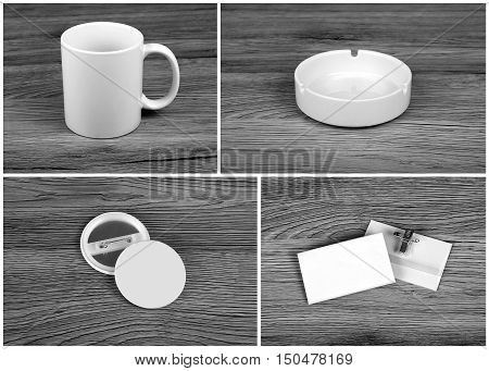 Set of white elements for corporate identity design on wooden background