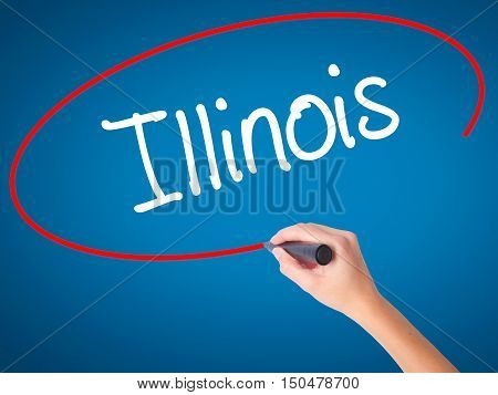 Women Hand Writing Illinois With Black Marker On Visual Screen