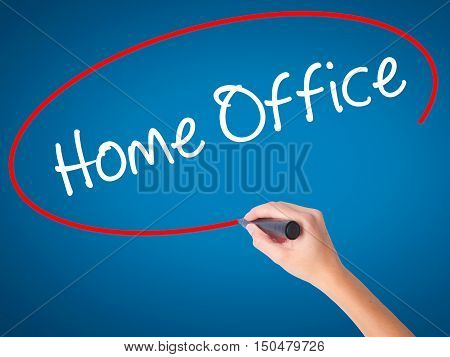 Women Hand Writing Home Office With Black Marker On Visual Screen