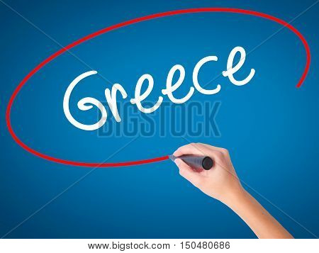 Women Hand Writing Greece  With Black Marker On Visual Screen