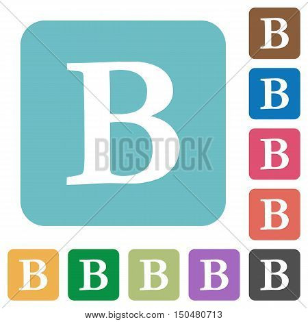 Flat Bold font type icons on rounded square color backgrounds.