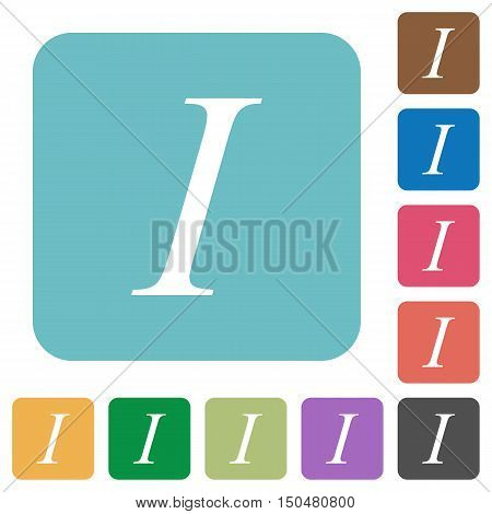 Flat Italic font type icons on rounded square color backgrounds.