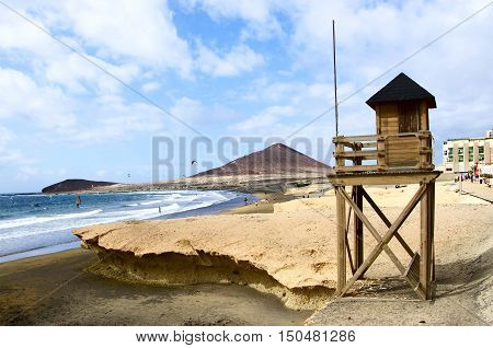 Lifeguard tower protecting the safety of windsurfers and kitesurfers
