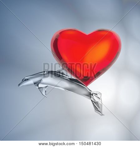 Heart and fish in the depth of the ocean. 3D illustration