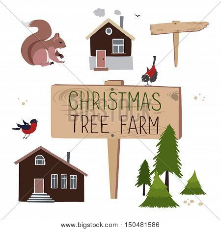 Vector set for creation illustrations about Christmas tree farm. Christmas Trees for sale